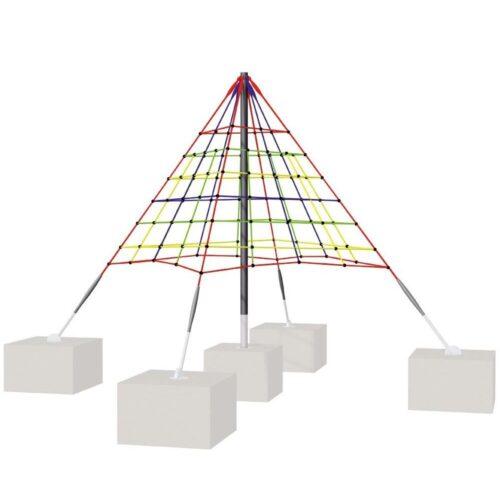 Red piramide de 3mt. de altura. en varios colores. Poste central galvanitzat
