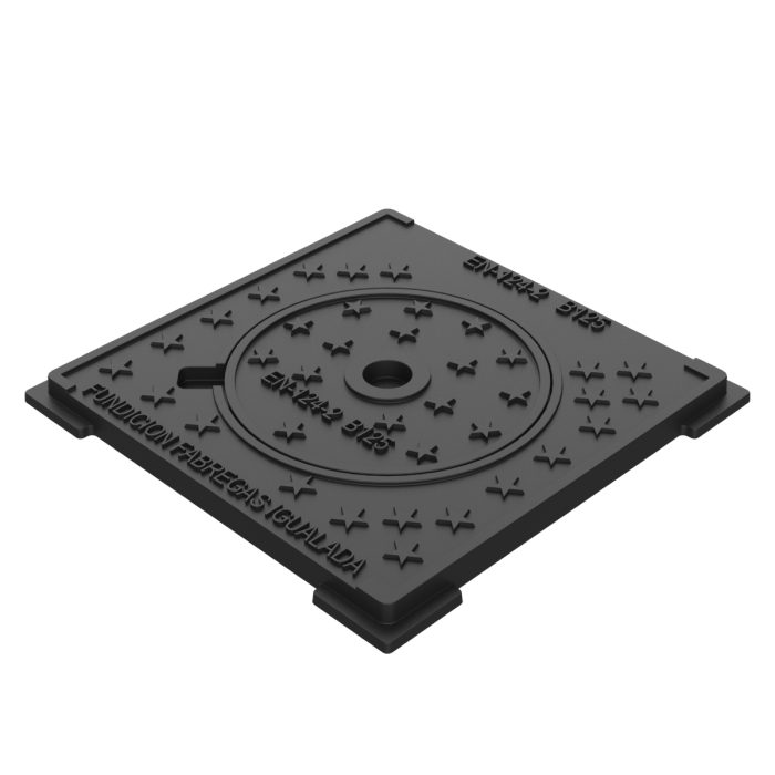 Campsa trap door manhole cover and framer sidewalk waters and gully grating traps B-13D