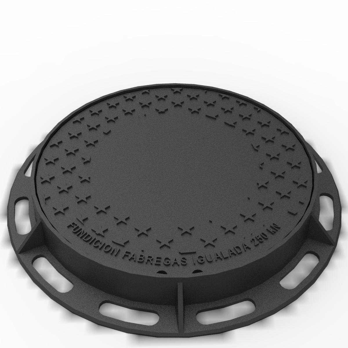 Tapa y aro circular de registro y fundicion ductil B-5DU