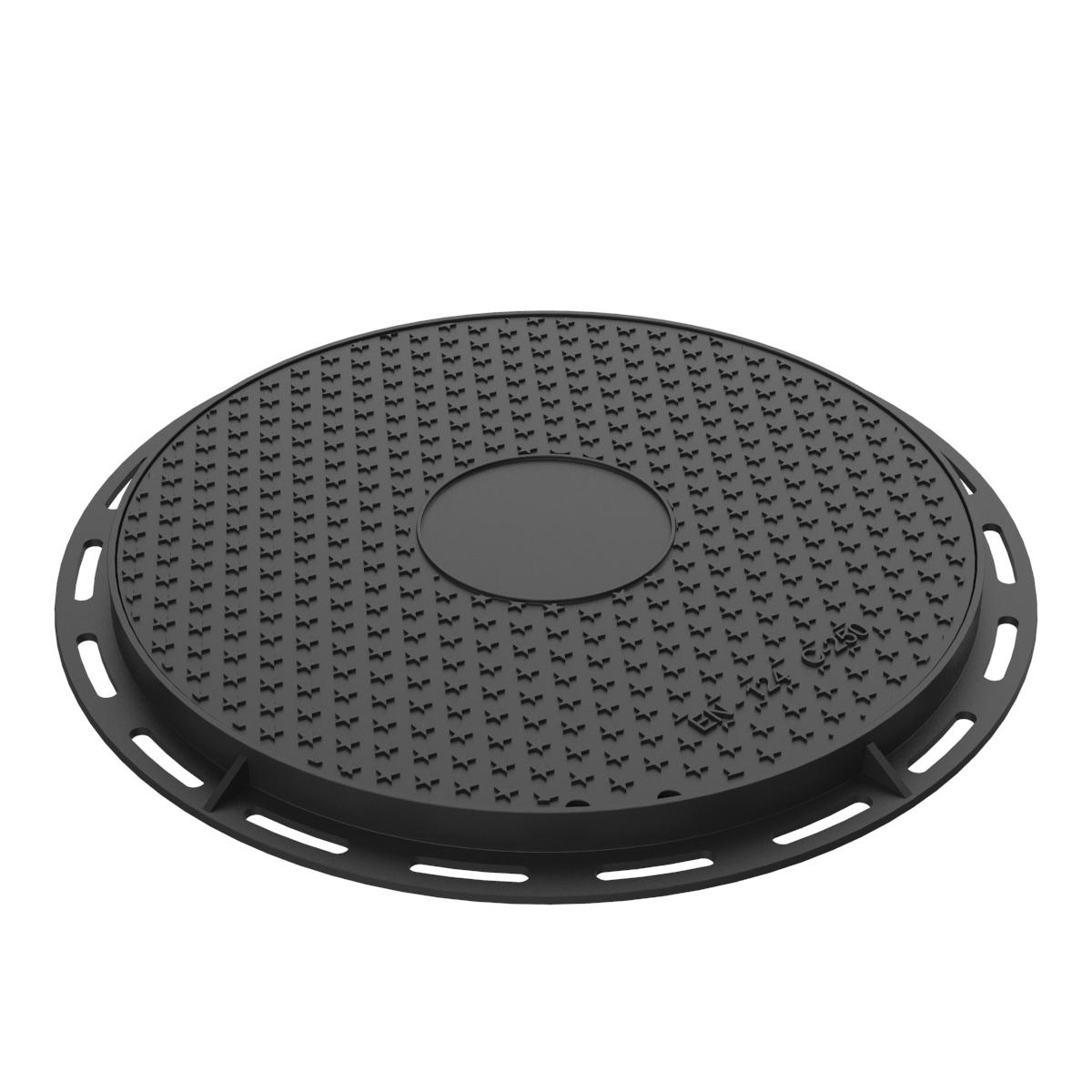 Tapa y aro circular de registro fundicion ductil B-8DU250