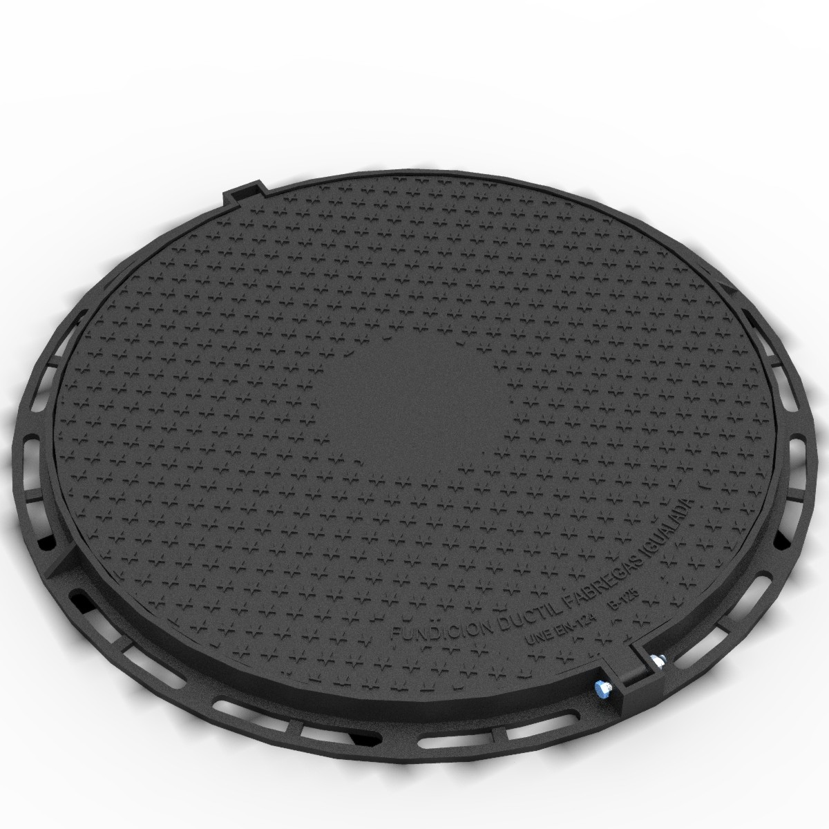 Circular Manhole cover and ring hinged in ductile selting B-9DU125A