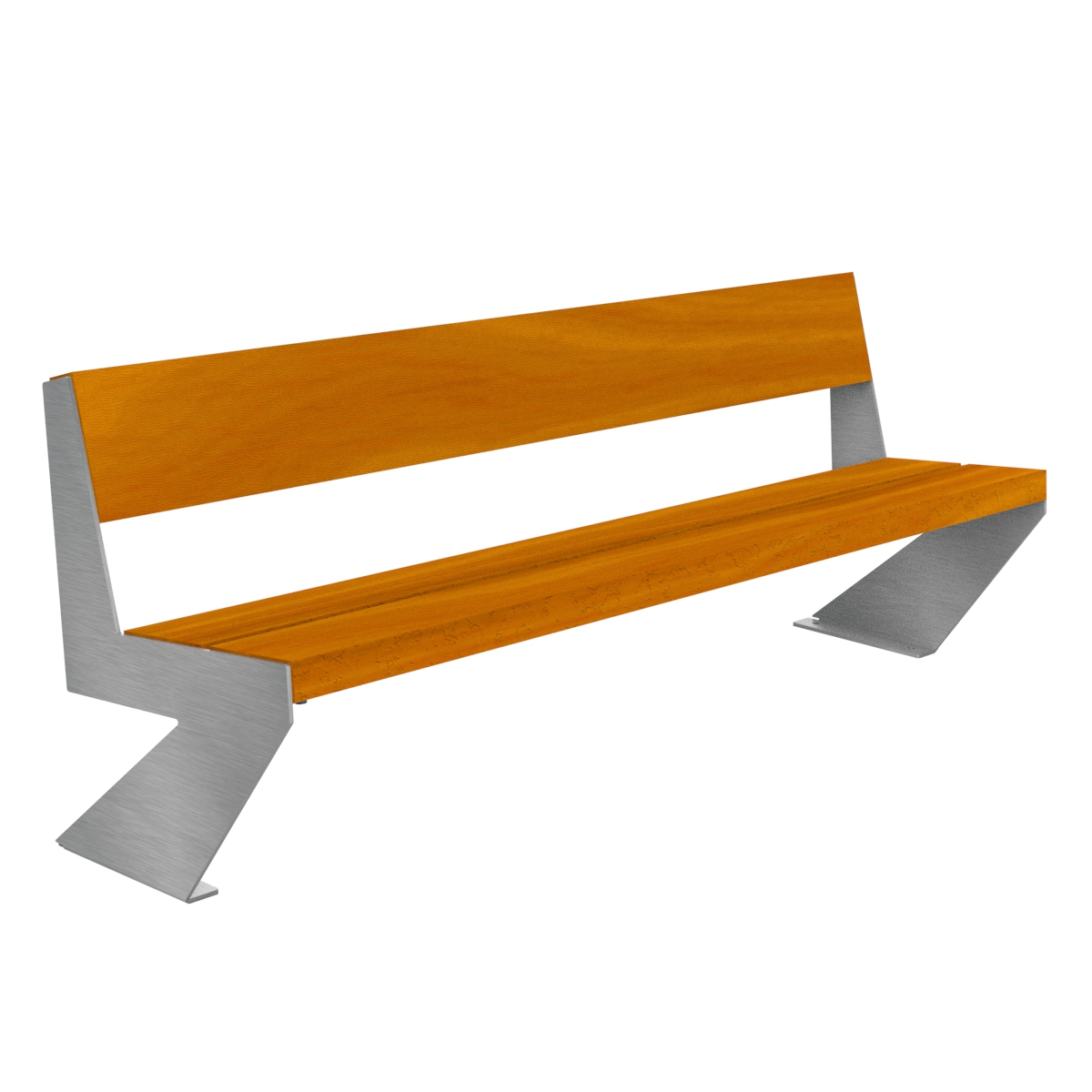 Zenit Wood Bench stainless legs urban furniture parks and gardens