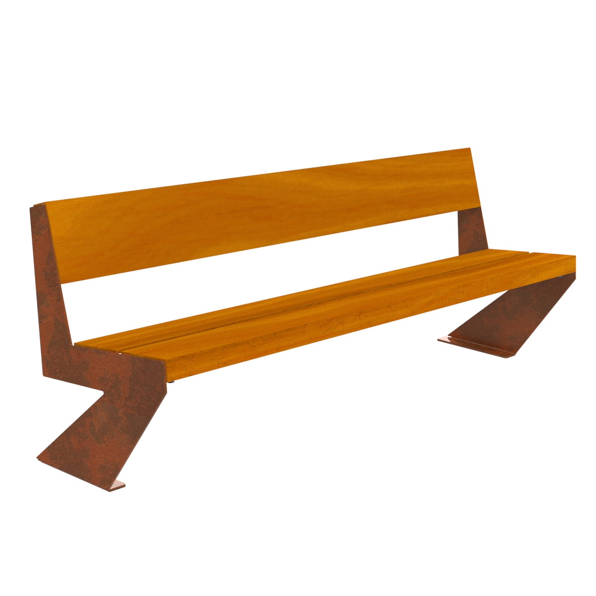 Zenit Wood Bench corten legs urban furniture parks and gardens