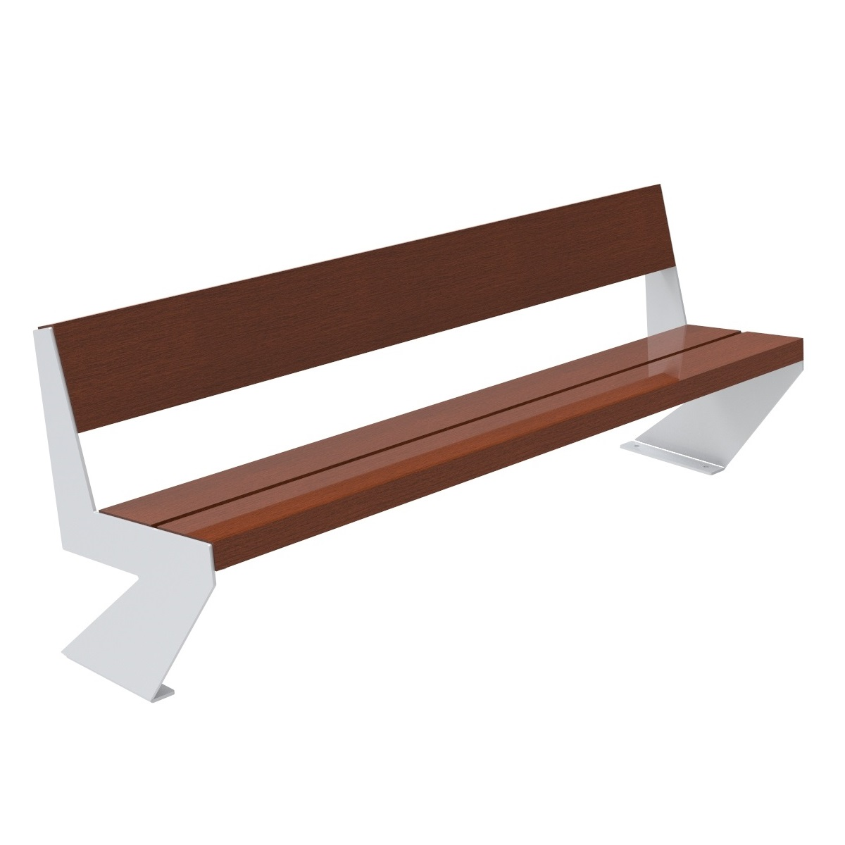 Zenit Wood Bench painted legs urban furniture parks and gardens