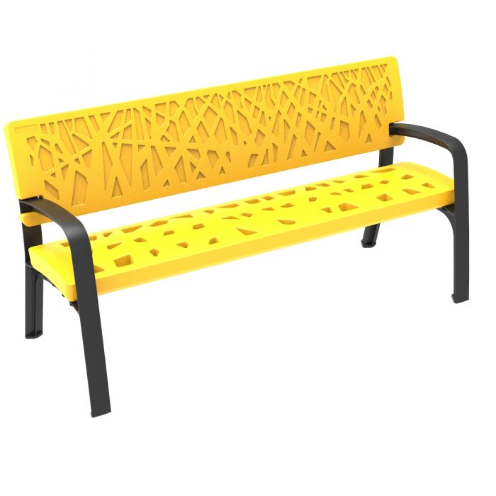 Maverik Polyethylene Plastic Bench urban furniture to sit in parks and gardens