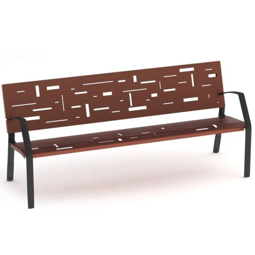 Abstract bench model with legs ductile cast iron painted in martele.
