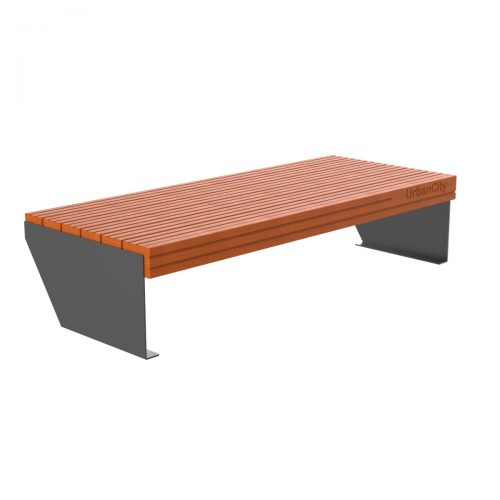 Urbancity bench without back, steel frame and tropical wood - C-1025-SIN
