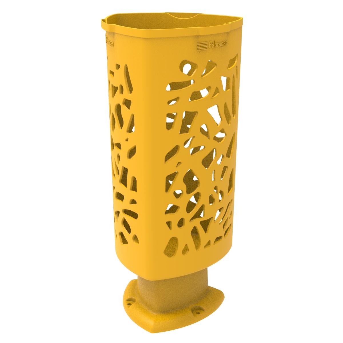 Papelera Scuderia de Polietileno color Amarilo RAL 1023 para Calle