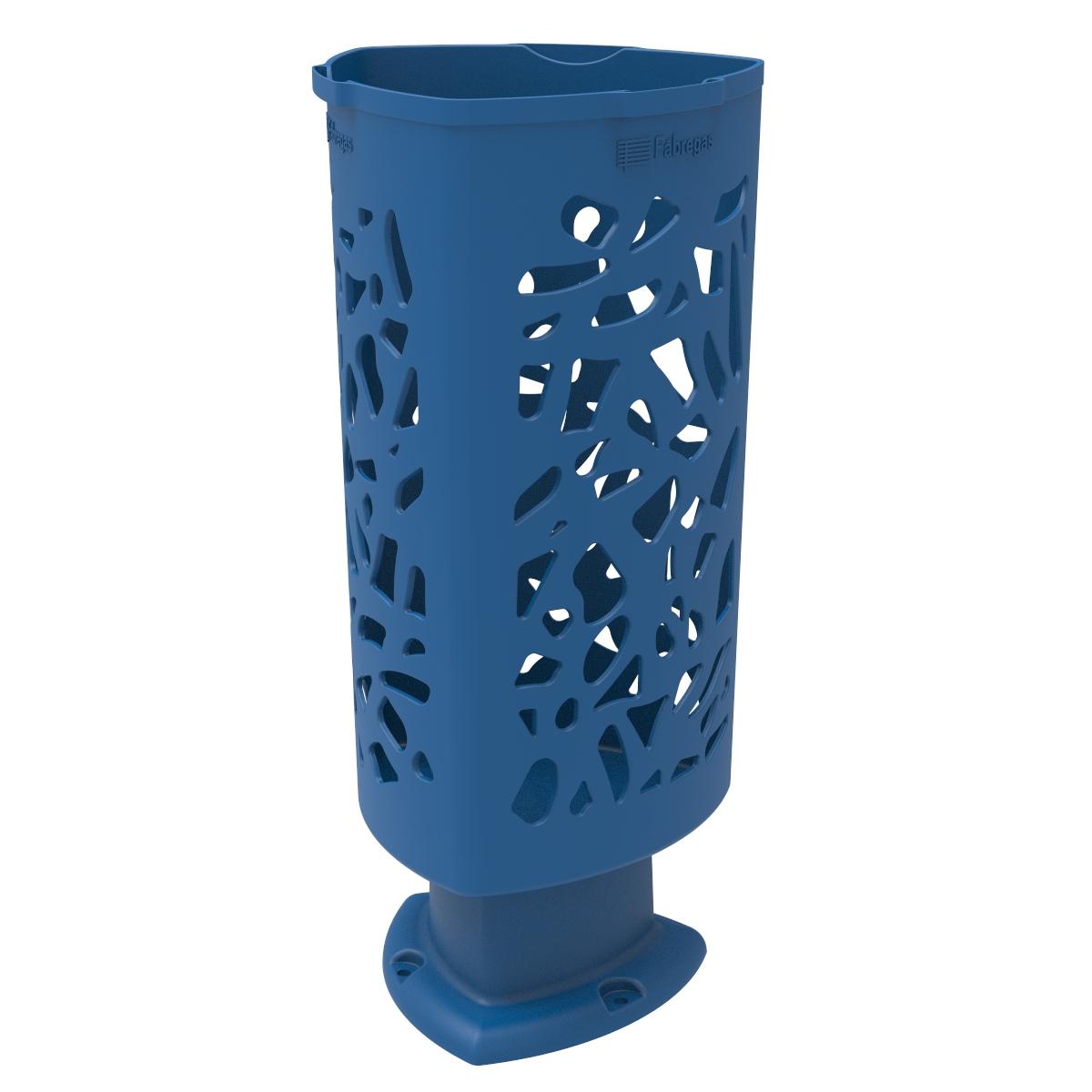 Paper bin Scuderia of Polyethylene Blue color RAL 5005 for Street