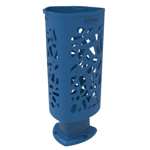 Papelera Scuderia de Polietileno color Azul RAL 5005 para Calle