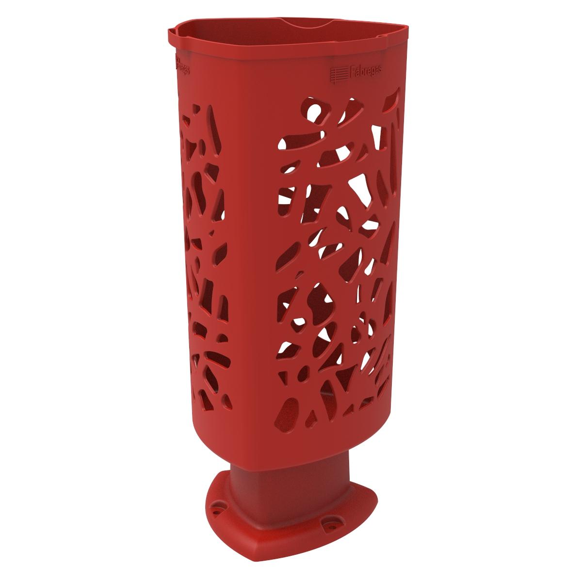 Paperera Scuderia de Polietilè color Vermell RAL 3020 per Carrer