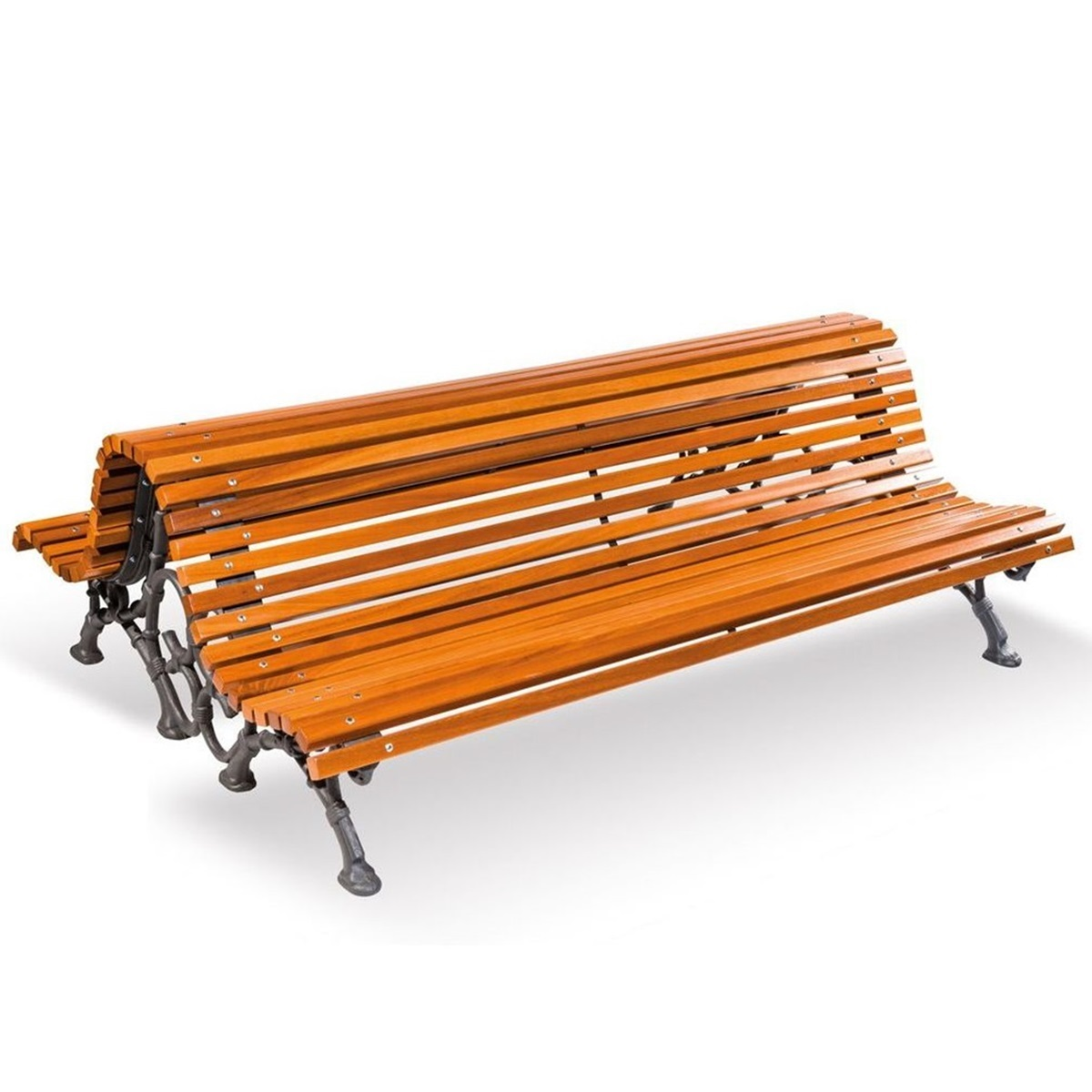 Double Romantico bench of wood urban furniture parks and gardens