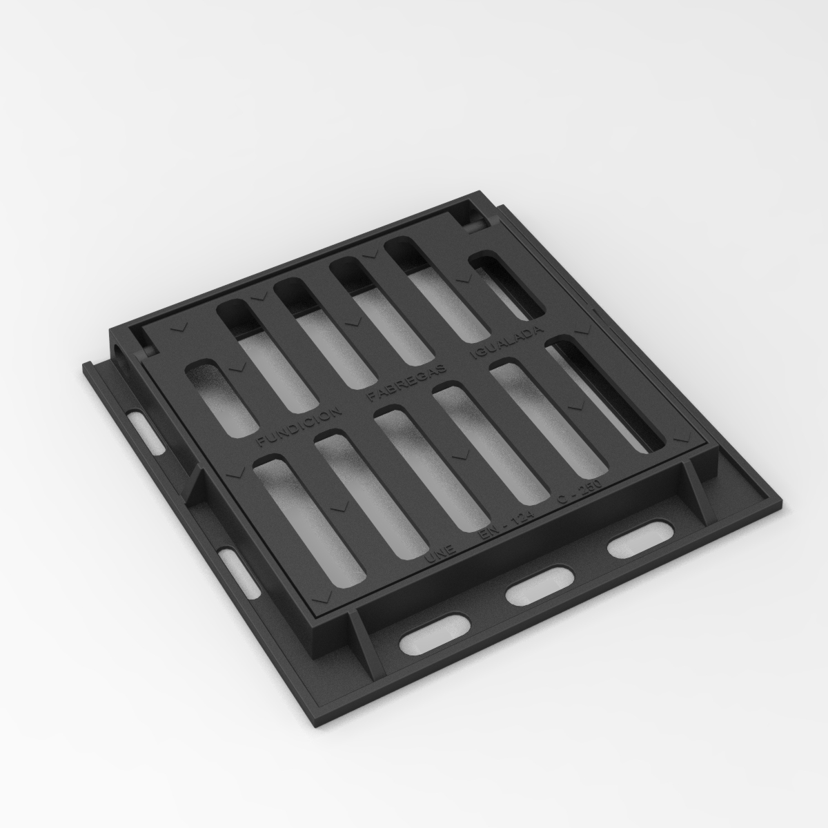 Square folding scupper grate and frame in casting D-12