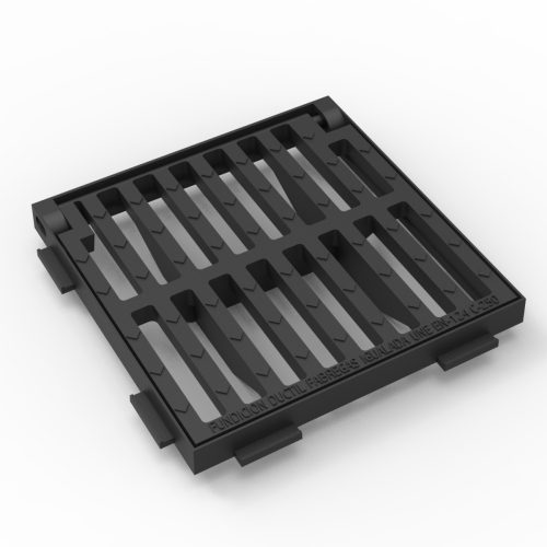 Square folding scupper grate and frame in casting D-12A