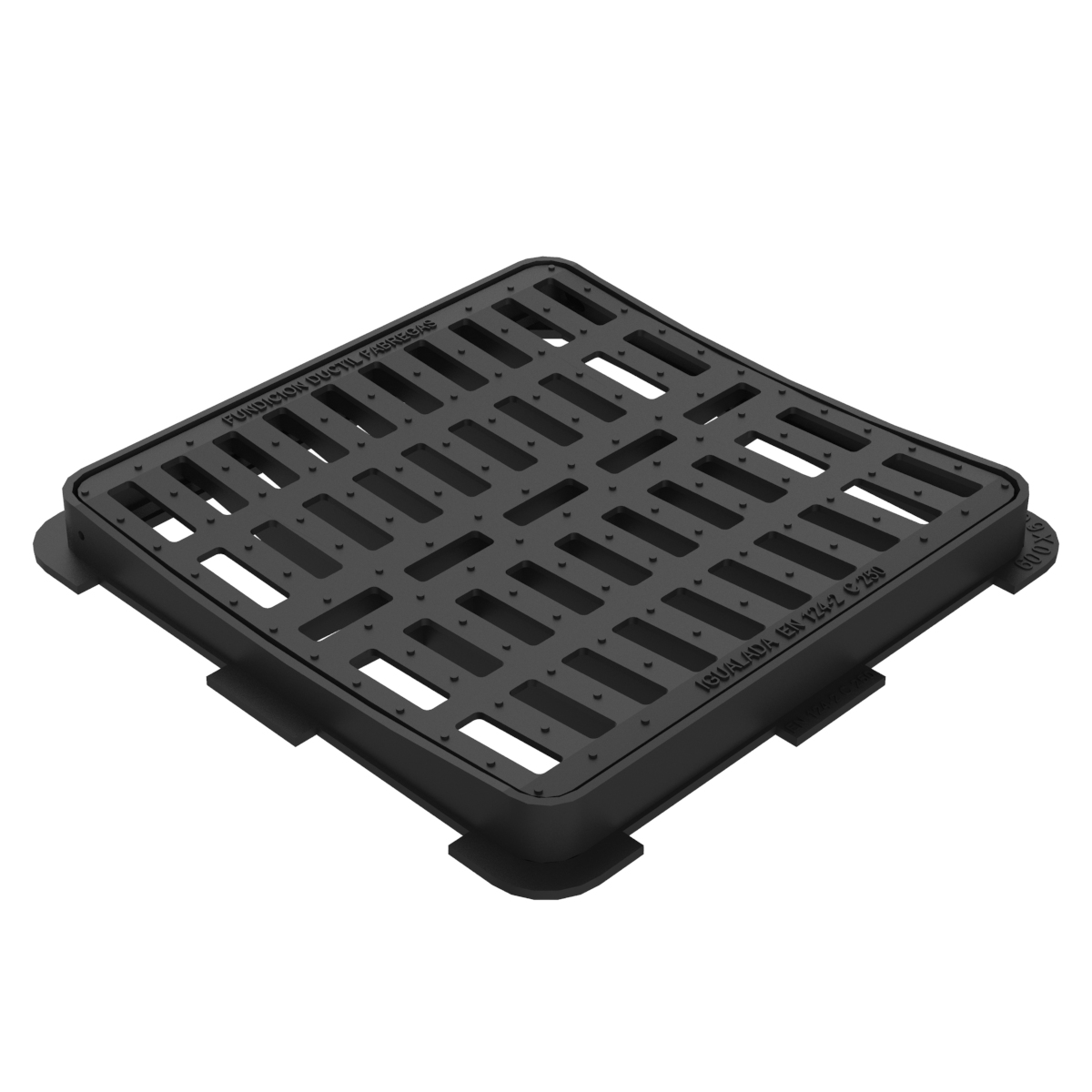 Square Concave folding scupper grate and frame in casting D-12B-CONCAVA-C250