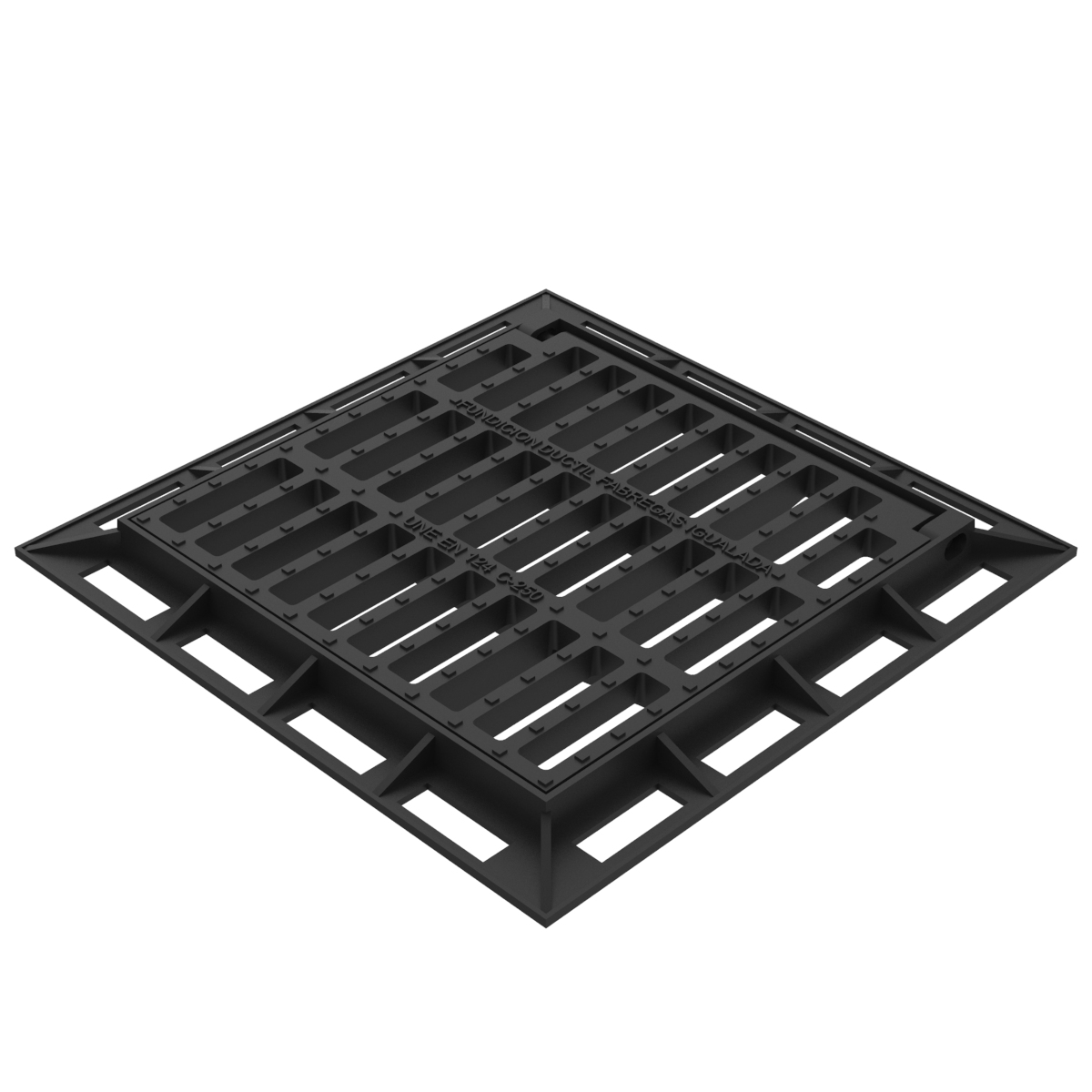 Square folding scupper grate and frame in casting D-12C