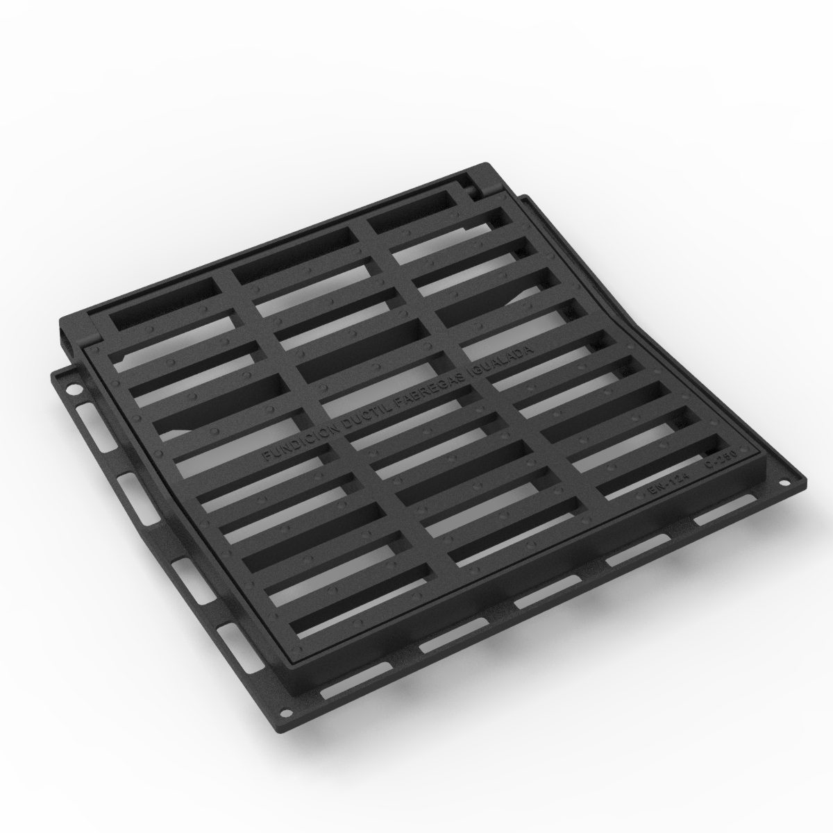 Reja y marco en V Cuadrada imbornal abatible en fundicion D-12C-V