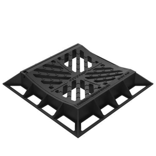 Reja y marco Cuadrada Concava imbornal abatible en fundicion D-12ES