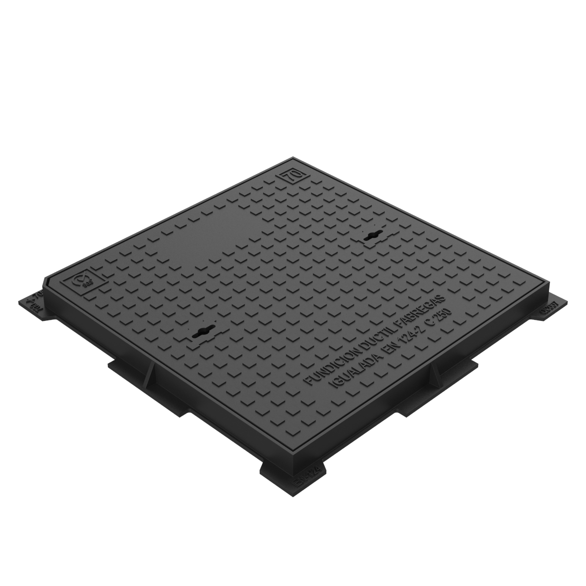 Hydraulic square manhole cover and frame ductile casting D-18 70x70 C250