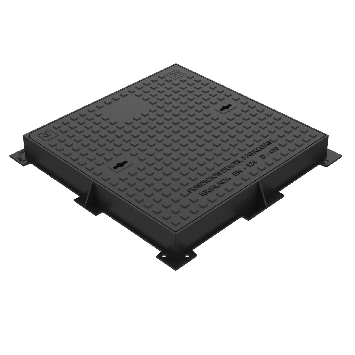 Tapa y marco cuadrado hidraulicas fundicion ductil D-18 70X70 D400