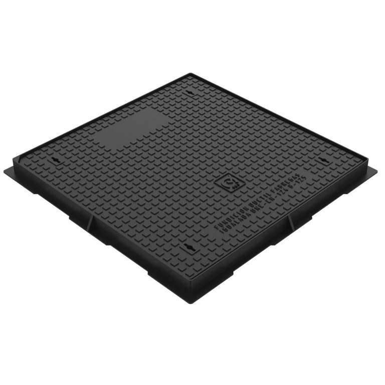 Square manhole cover and frame in casting 100x100 D-19 B125