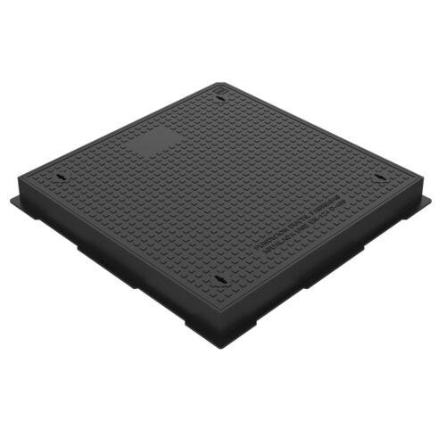 Tapa y marco cuadrado hidraulicas fundicion ductil D-19 80X80 D400