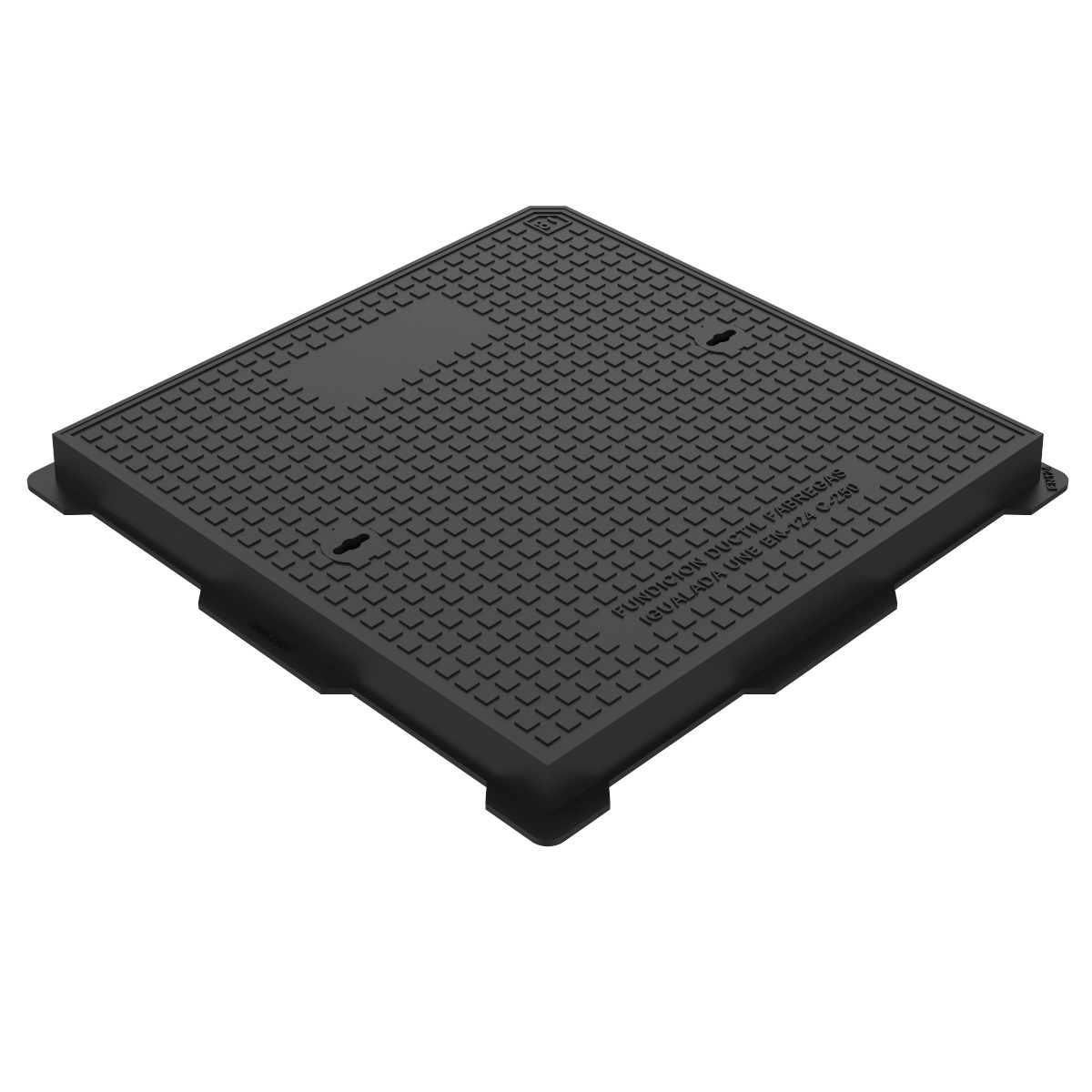 Hydraulic square manhole cover and frame ductile casting D-19 80x80 C250
