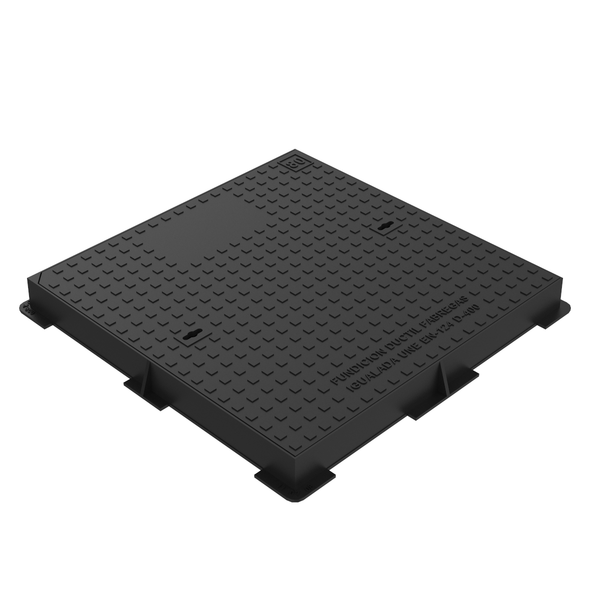 Hydraulic square manhole cover and frame ductile casting D-19 80x80 D400