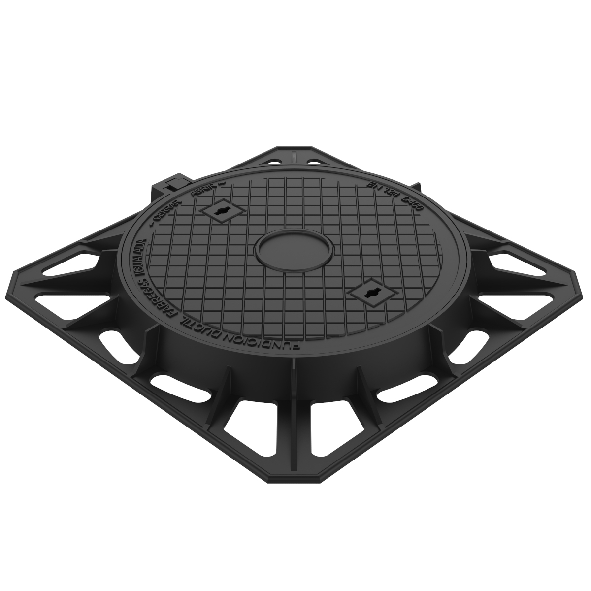 Square Manhole cover and frame of registry in ductile casting D-2B