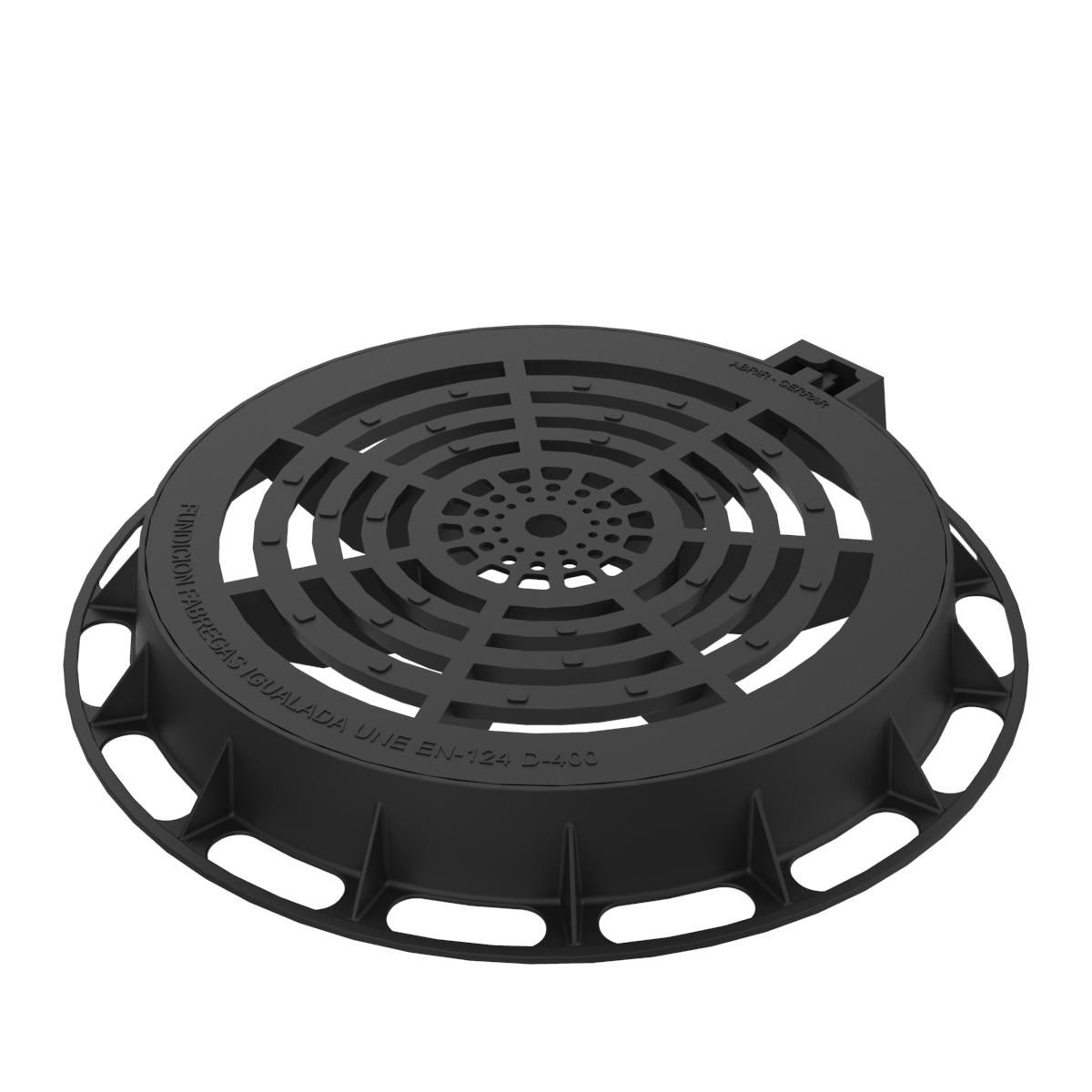 Tapa reja de registro circular en fundicion ductil D-80