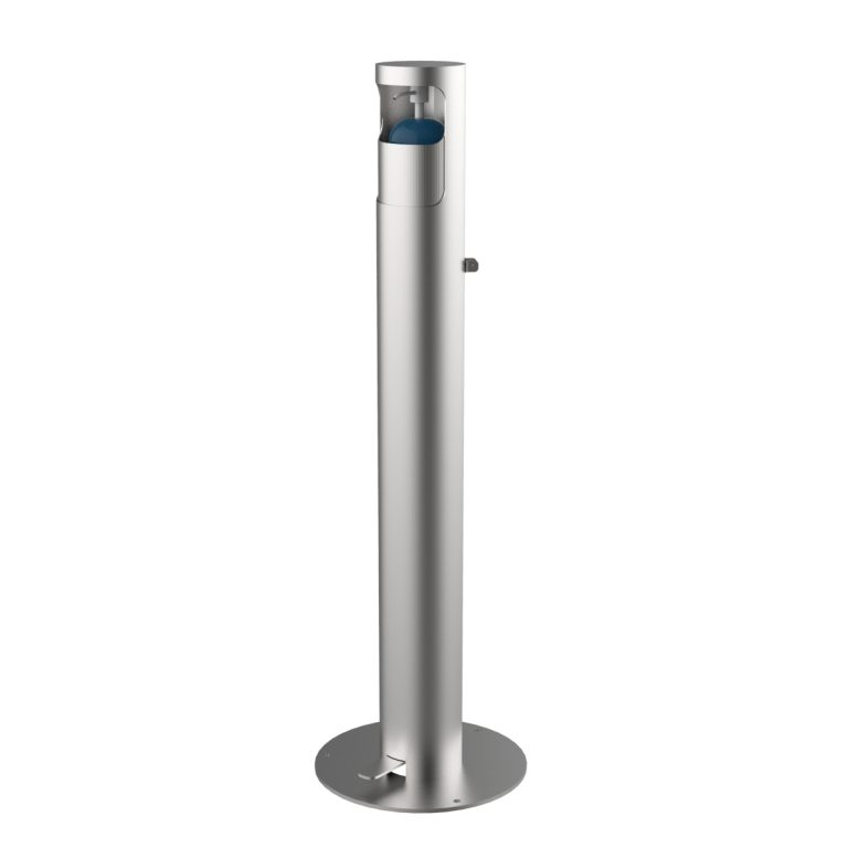 Dispensador de gel hidroalcohólico fabricat en acer inoxidable AISI 304 setinat DISP-3