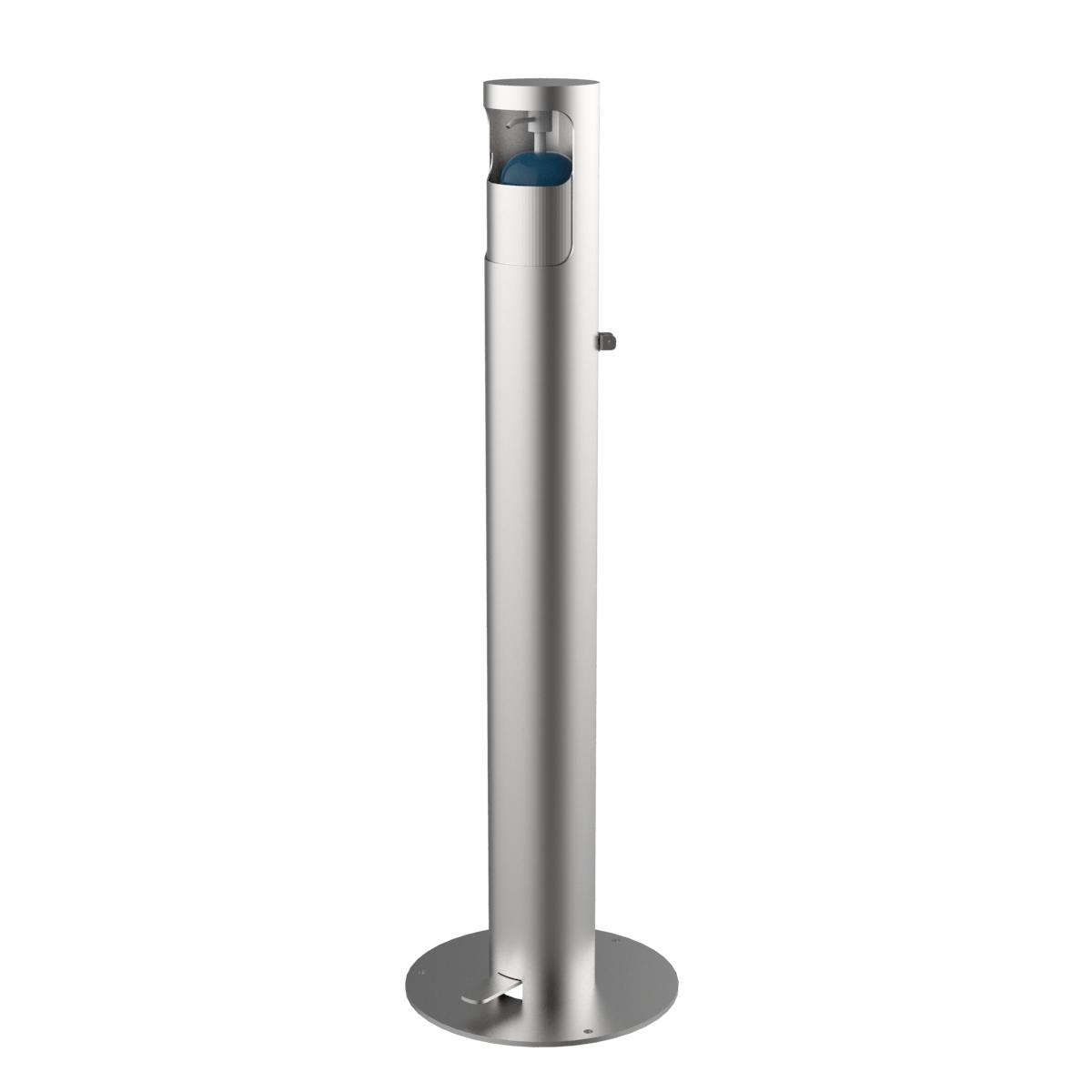 Dispensador de gel hidroalcohólico fabricado en acero inoxidable AISI 304 satinado DISP-3
