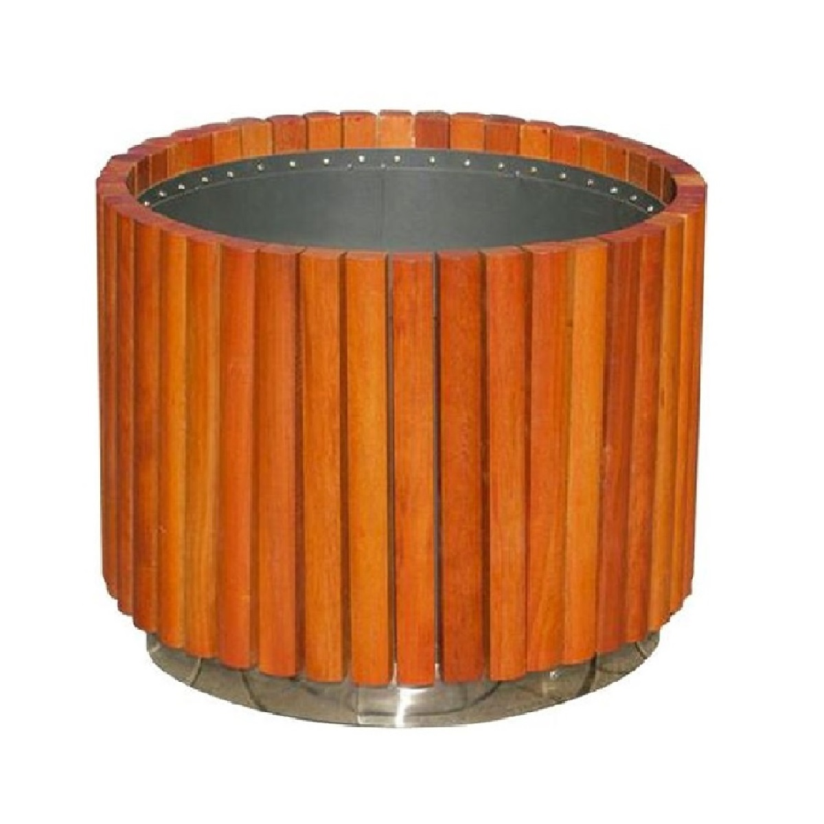 Circular flower box with strips of wood newport J-9
