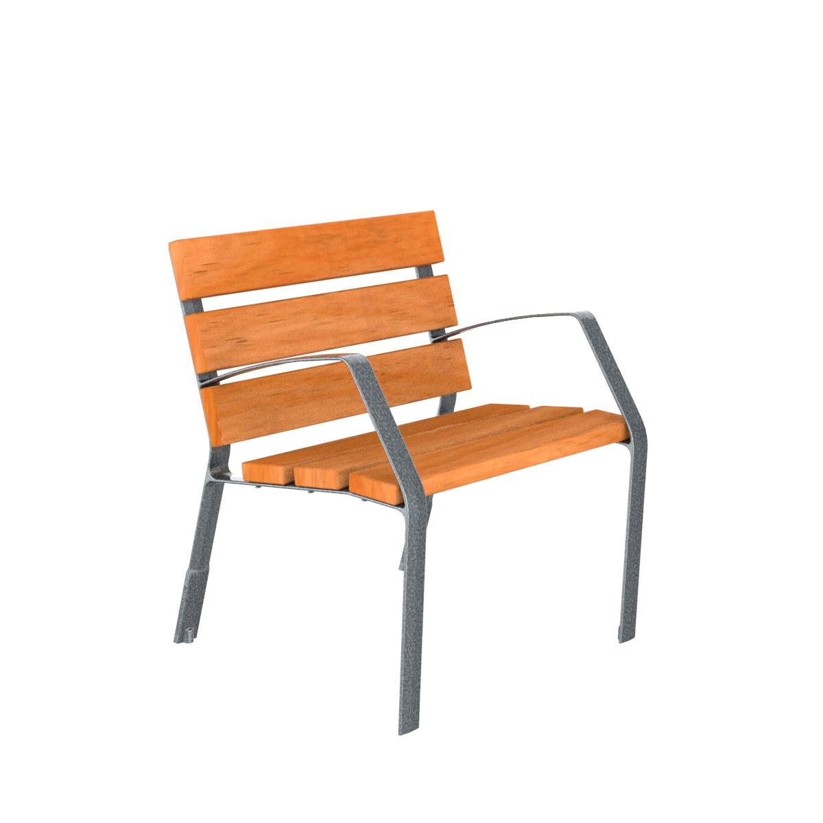 Chaise Modo08 en bois tropical et pieds en fonte ductile