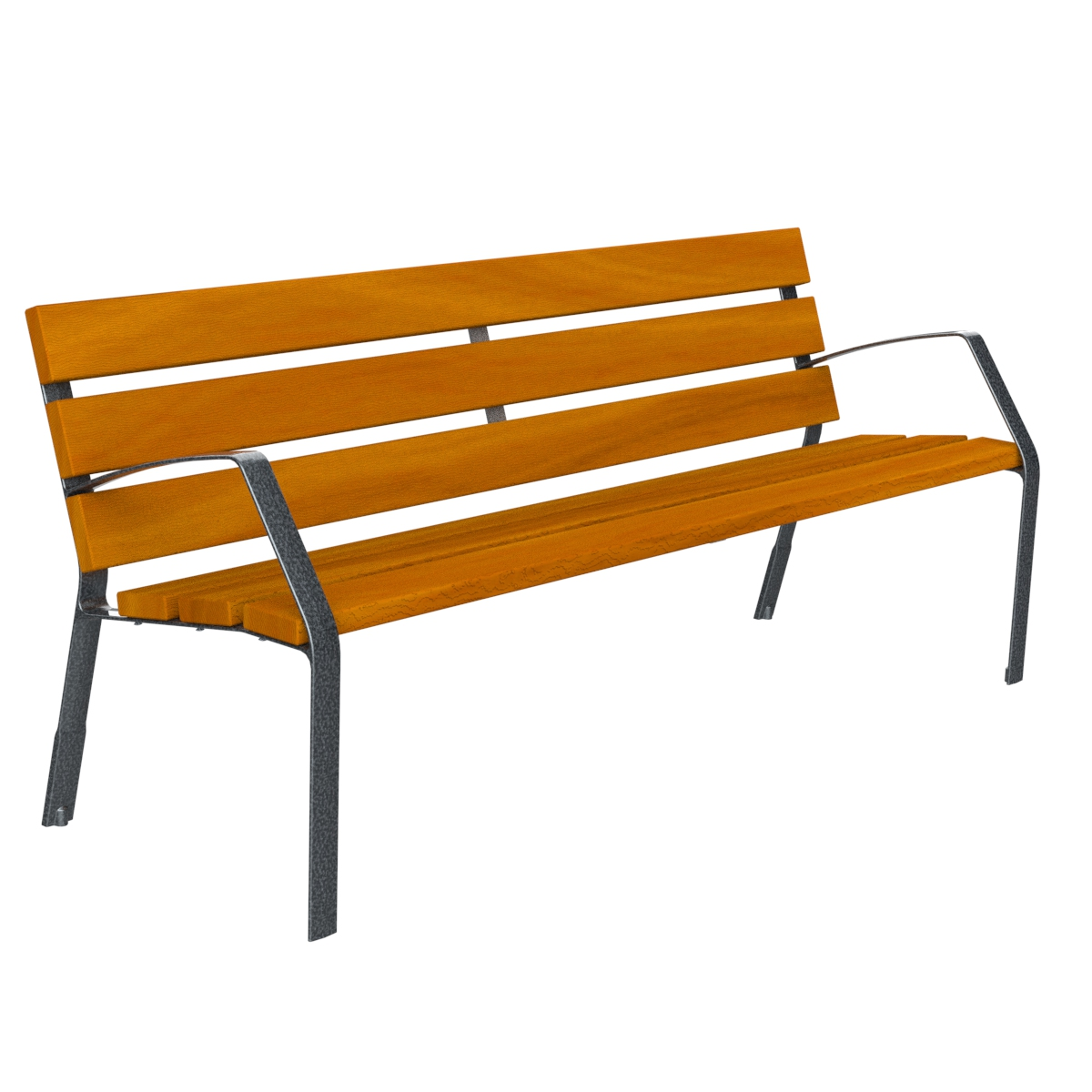 Bench Modo10 tropical wood and ductile cast iron legs