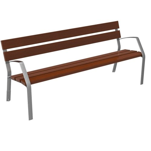 Bench MODO08 tropical wood and ductile cast iron legs MODO08-1800-5