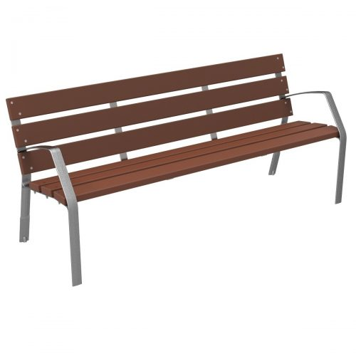 Bench MODO08 recycled polymers and ductile cast iron legs MODO08-1800-PR