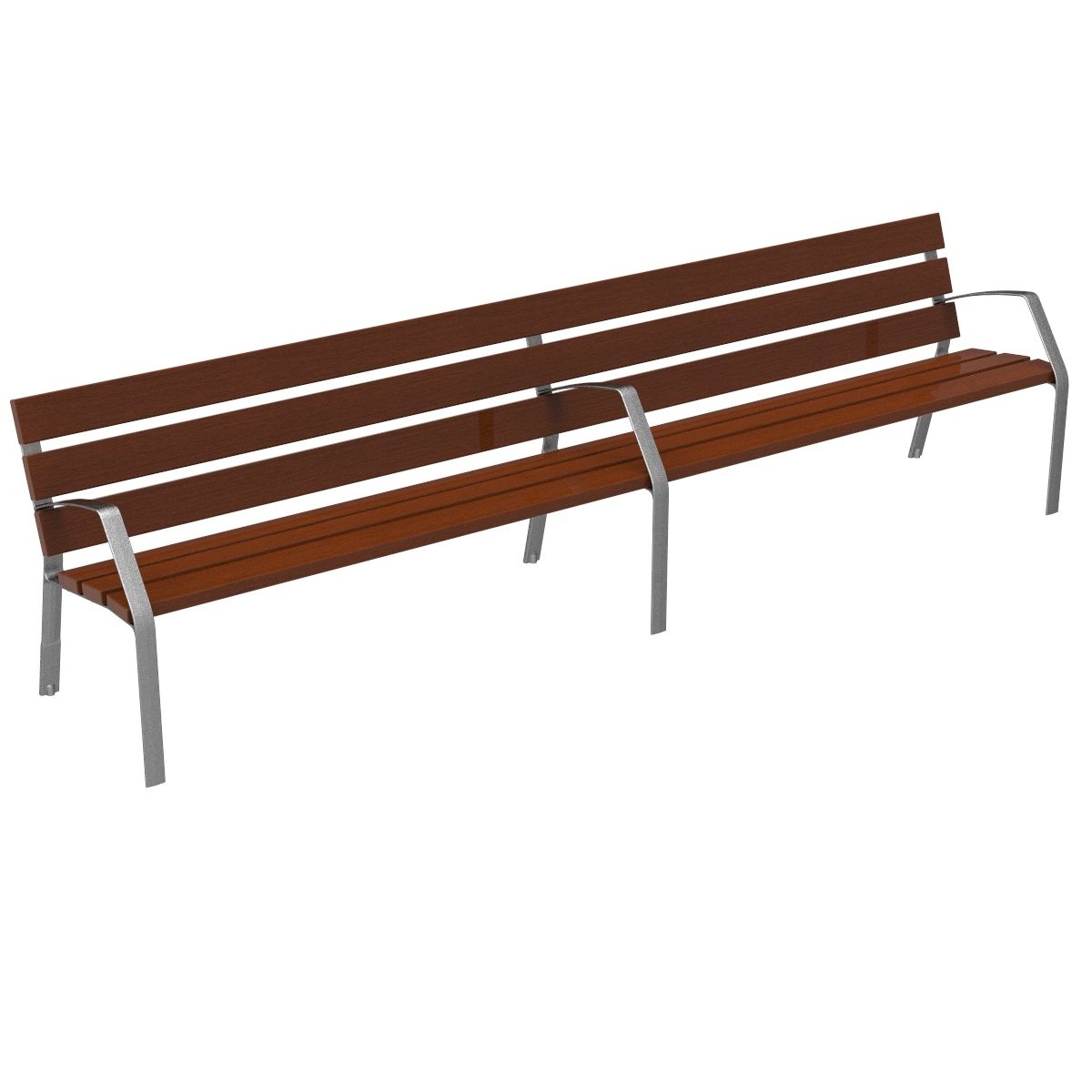 Bench Modo10 double tropical wood and ductile cast iron legs MODO08-3000