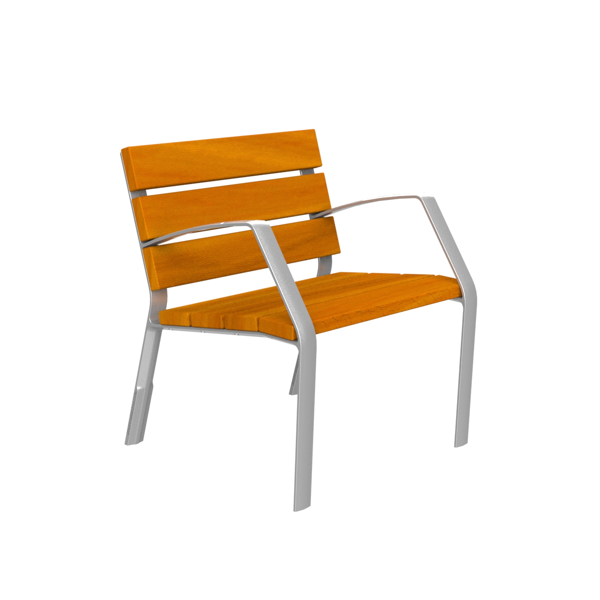 Aluminium chair and tropical wood MODO10