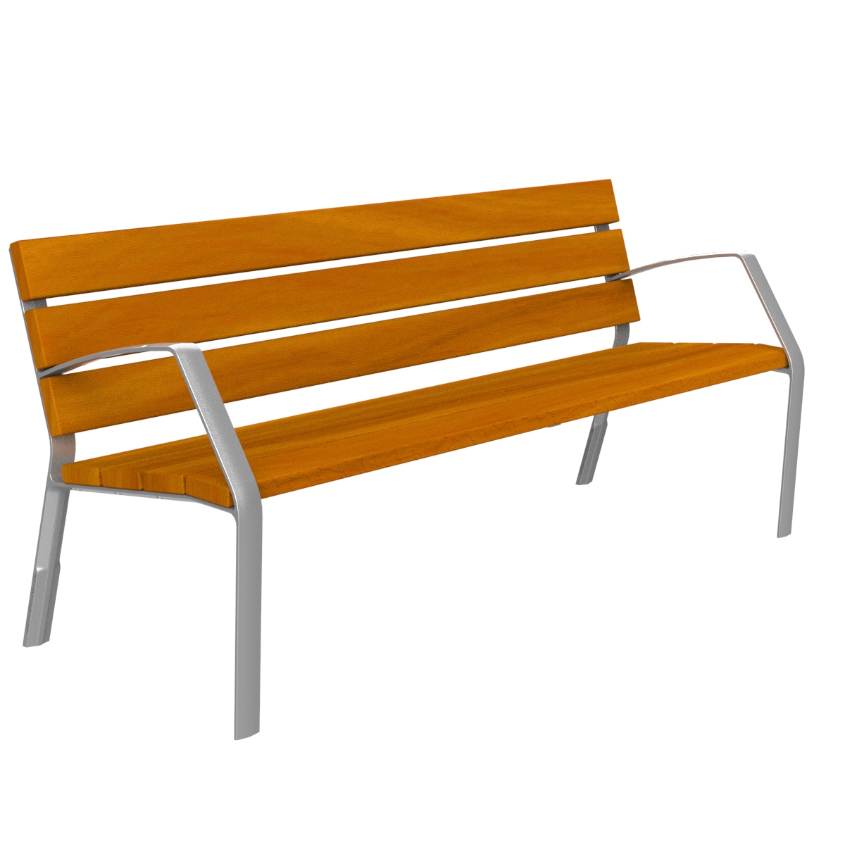 Bench Modo10 tropical wood and aluminium leg