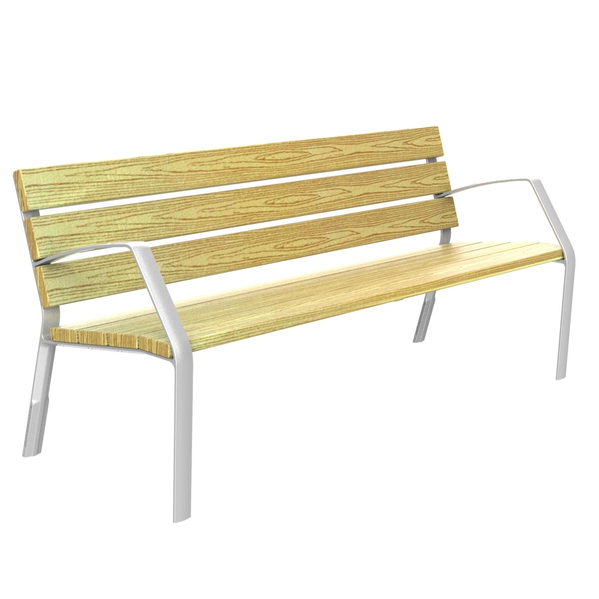 Banc en bois avec des pieds en aluminium Modo10