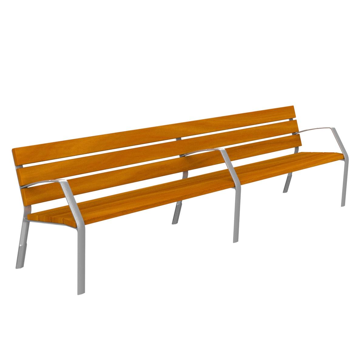 Banco de madera tropical y patas de aluminio adonizado