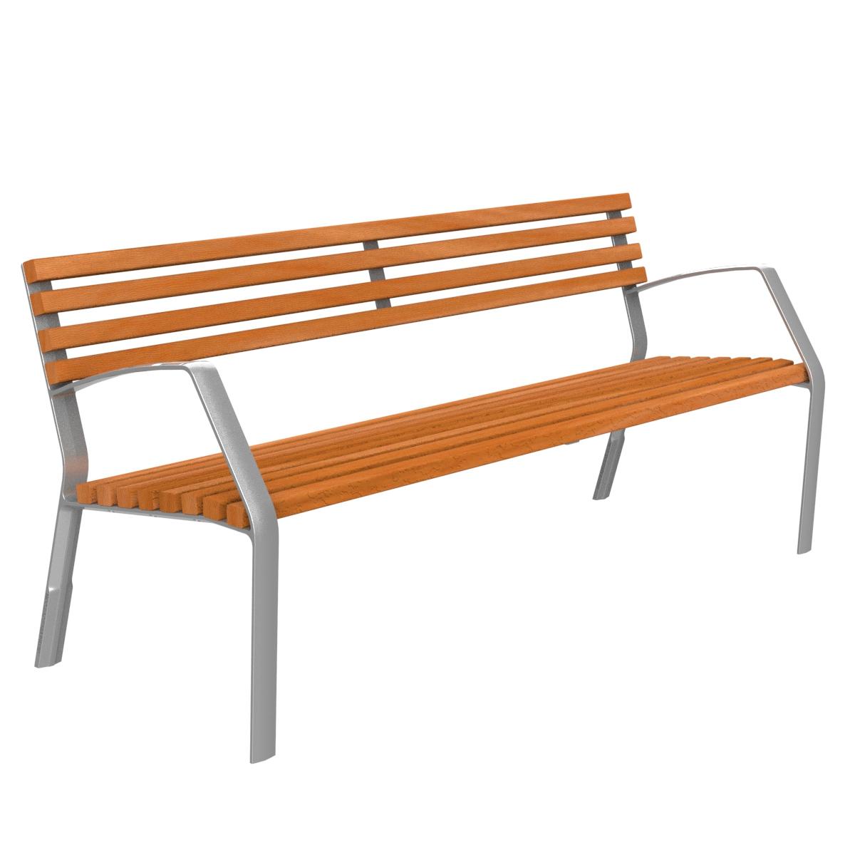 Banco MODO10-ROMANTICO madera de Guinea C1 y pata de aluminio MODO10