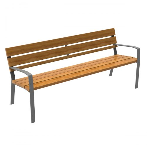 Bench of the MODO21 range with 7 slats of Guinea wood with steel legs.