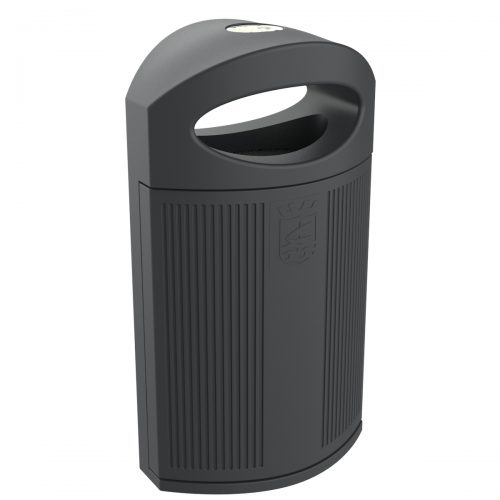 Ibiza Polyethylene Grey color RAL 7021 Bin for street P-23I-ALMUÑECAR