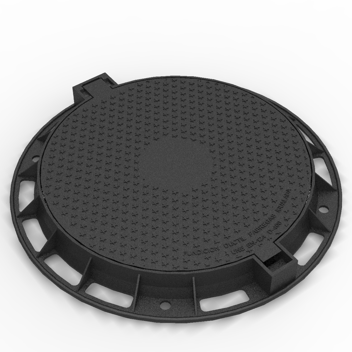 Circular articulated and folding Manhole cover and frame R-1 D-400
