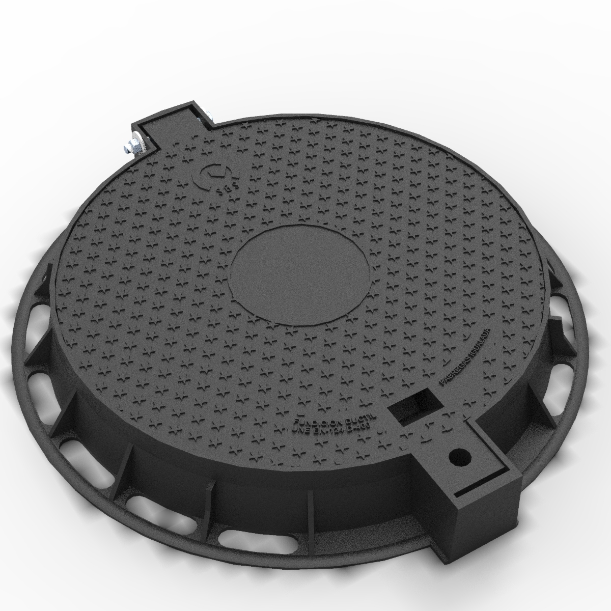 Folding Manhole Cover and ring of ductile casting R-100-TP-C