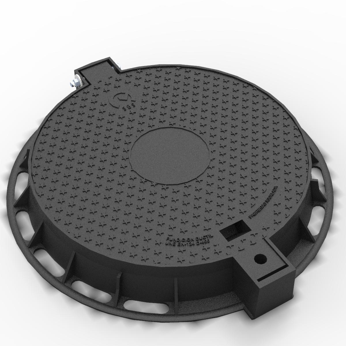 Tapa y aro articulada de fundicion ductil R-100-TP-C