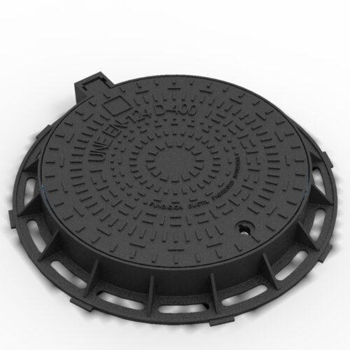 Tapa y marco antirrobo fundicion ductil circular R-1C