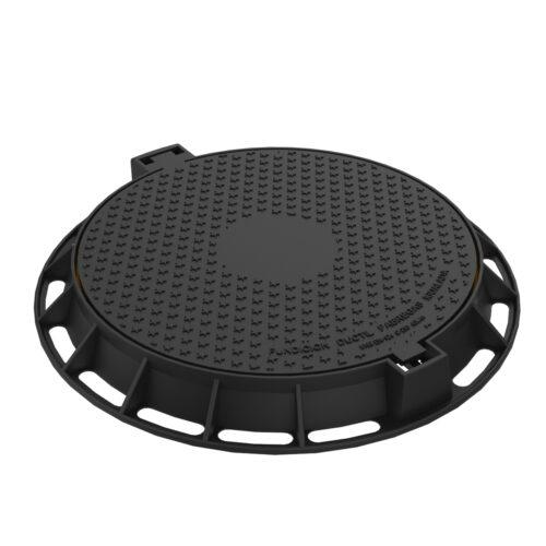 Tapa y marco abatible circular de fundicion ductil R-1P-75